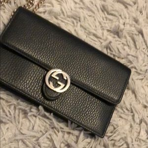 Gucci wallet clutch with chain with original box.